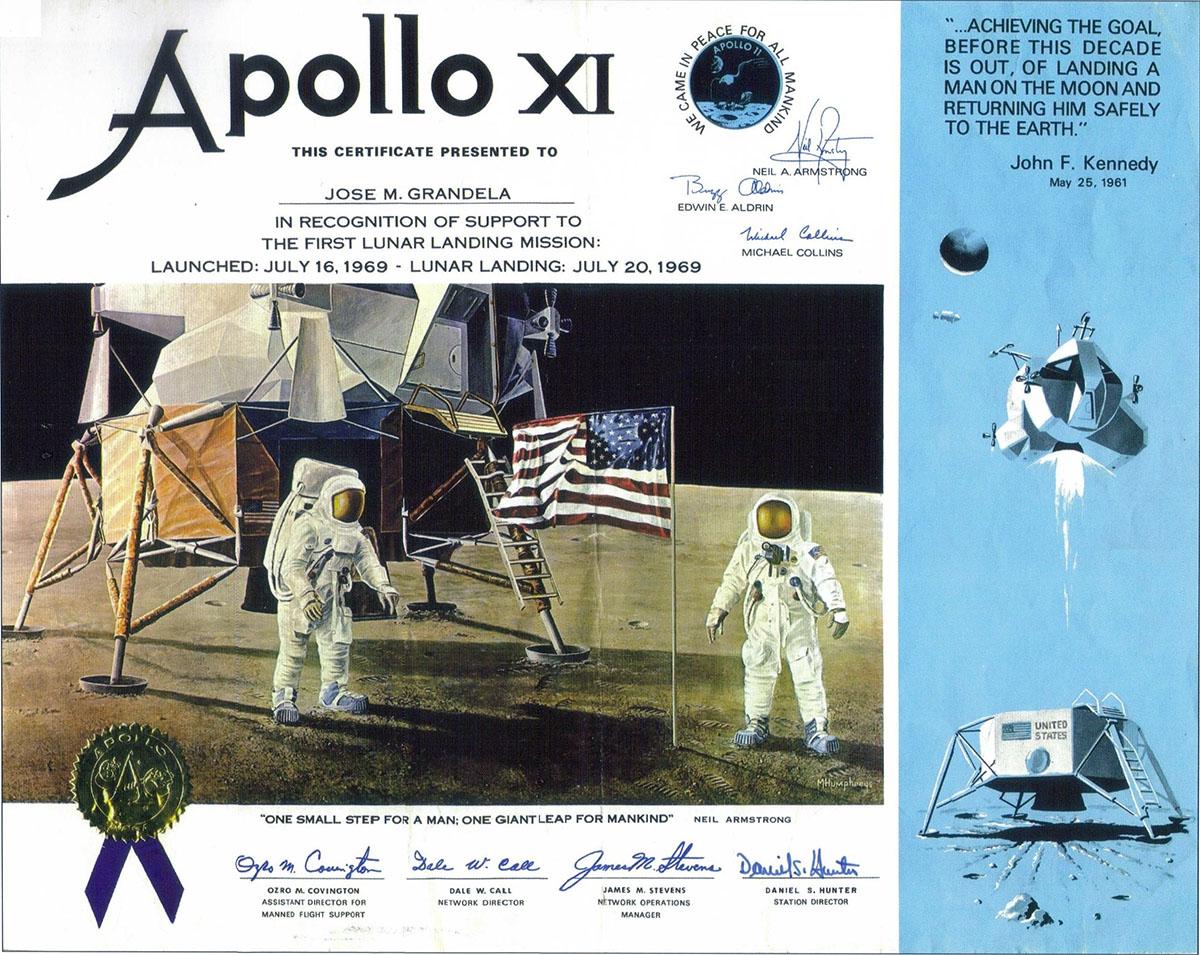 Diploma participación Apolo 11