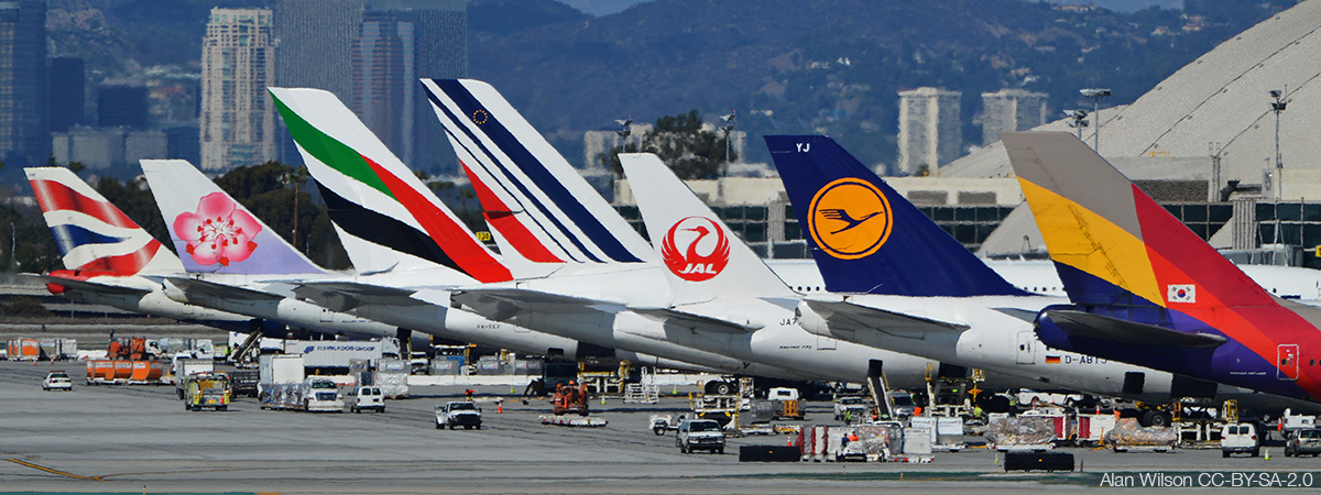 Airlines tails at LAX airport